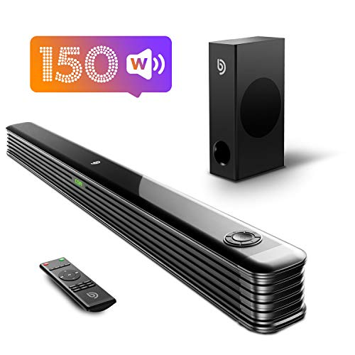 Bomaker Sound Bar with Wireless Subwoofer, 150W 2.1 CH Ultra-Slim TV Sound Bars for TV, Works with 4K & HD TVs, Treble & Bass Adjustable, LED Display, Bluetooth 5.0 Enabled, Outdoor Surround Sound