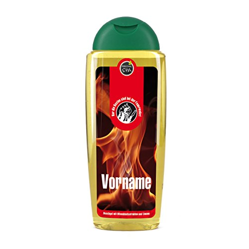 Lustapotheke® Duschgel d'Olive 300ml als Geschenk für Feuerwehrmann mit Aufdruck d. Namens