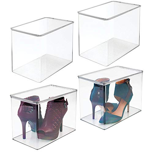mDesign Closet Storage Organizer Shoe Box, for High Heels, Tall Pumps, Boots - Pack of 4, Clear