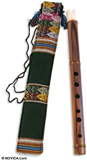 NOVICA Wooden Andean Quena Flute with Cow Bone Mouthpiece and Carrying Case, Song of The Andes'