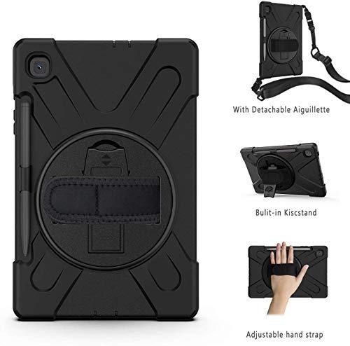 Gerutek Samsung Galaxy Tab S6 Lite Hülle mit Displayschutz, Stoßfeste Robust Panzerhülle mit Drehbar Stände, Handschlaufe, Schultergurt Schutzhülle für Samsung Tab S6 Lite 10.4 SM-P610 / P615, Schwarz