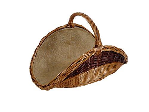 Kaminholzkorb Universalkorb Kaminkorb Weidenkorb Holzkorb Holzliege aus gekochter Weide ausgestattet mit Jutefutter kleine Ausführung
