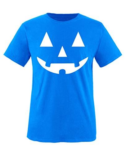 Comedy Shirts - Kuerbisgesicht - Halloween - Mädchen T-Shirt - Royalblau/Weiss Gr. 98-104