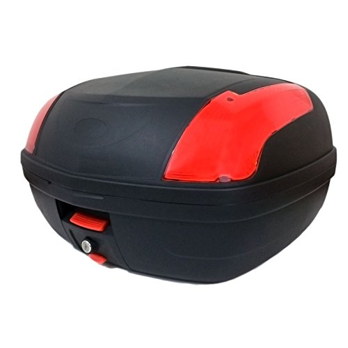 MMG Motorcycle Touring Large Top Box Tail Trunk Luggage Box, 12.6 x 16.5 x 21.6 in, Holds 2 Helmets Hard Case (889)