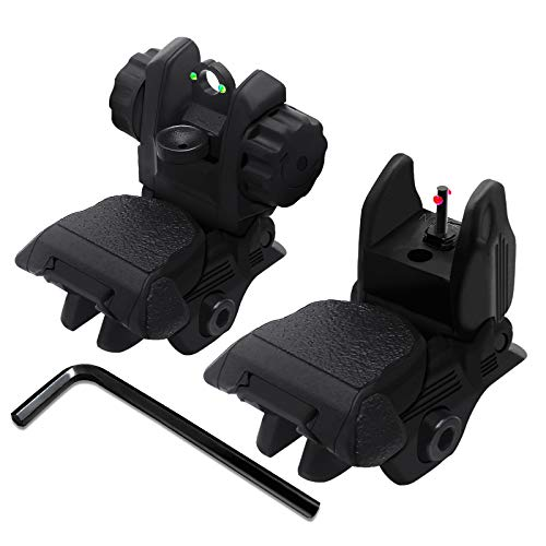 AWOTAC Polymer Black Fiber Optics Iron Sights Flip-up Front and Rear Sights with Red and Green Dots Fit Picatinny Weaver Rails