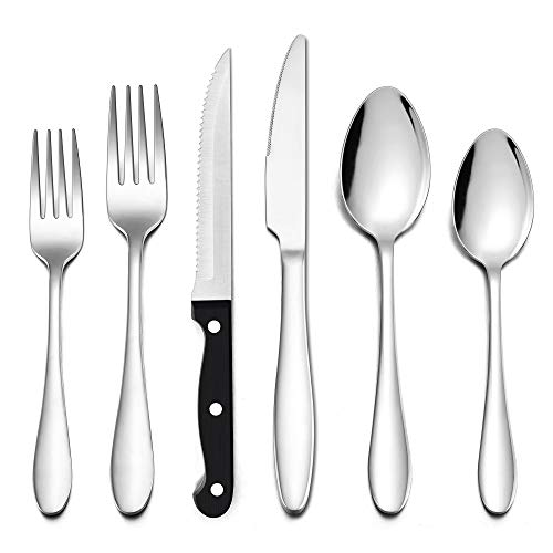 LIANYU 36-Piece Silverware Set with Steak Knives, Stainless Steel Flatware Cutlery Set for 6, Eating Utensils Tableware Include Forks Knives Spoons, Dishwasher Safe