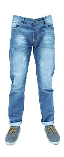 Forever Young UK Mens Classic Rechte Been Jeans Designer Wit Was Effect Slim Regular Fit Stretch Rechte Been Jeans