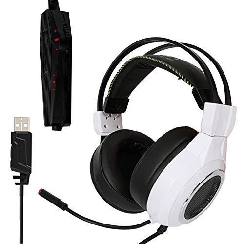ENEN Casque de Jeu Filaire USB, Microphone de réduction du Bruit du Son Surround 7.1 Contrôle de Fil Multifonctionnel réglable de Faisceau de lumière Froide Froide RVB, adapté pour PC-White
