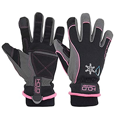 Waterproof Insulated Work Gloves, Thermal Winter Gloves for Men Women Touch Screen, Warm Ski Snowboard Cold Weather Gloves (Medium, Pink)