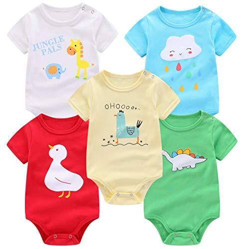 FLORNO Unisex Baby Bodysuits 5-Pack Baby Short Sleeve Bodysuits Onesies Bodysuit Short-Sleeve Bodysuits%100 Organic Cotton (12-18 Months)