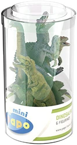 Figures - Mini Tub - 6 Different Dinosaurs - Prehistoric Collection - Papo by PAPO
