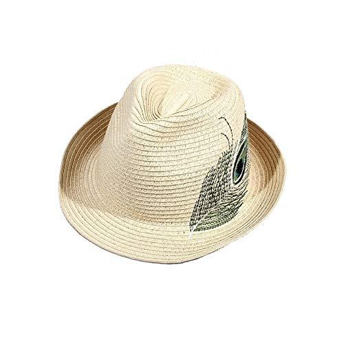 YDS SHOP Vizier hoed dames strohoed opvouwbare handgemaakte stroh panama bowler hat Holiday Beach off-white