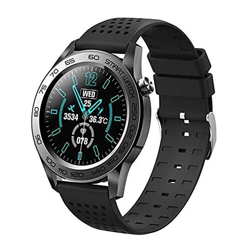 Smart Watch Hombres GPS Track Grabación Deporte Fitness Tracker Temperatura Táctil Completa Monitor De Temperatura Cardíaca Smartwatch(Color:Silicona Negra)