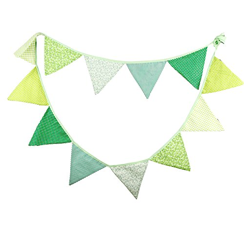 INFEI 3.2M/10.5Ft Vintage Floral Fabric Flags Bunting Banner Garlands for Wedding, Birthday Party, Outdoor & Home Decoration (Green)