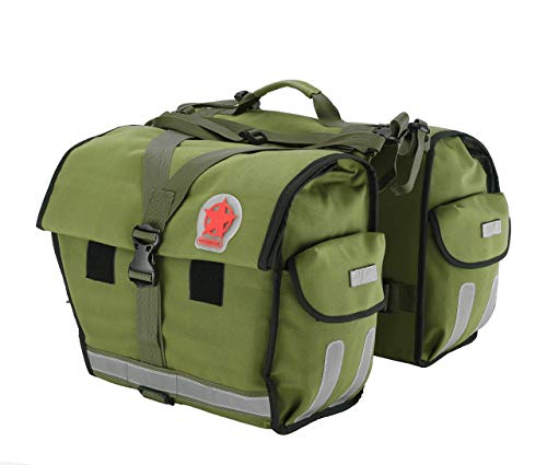 Roswheel Water-Resistant Bicycle Rear Seat Carrier Bag Double Pannier Bag Army Green 45L with