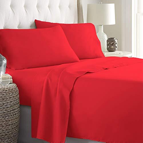 LARA MORADA Set Completo Letto Lenzuola Made in Italy 100% Cotone Tinta Unita Disponibile in 17 Colori (Rosso, Matrimoniale 2P)