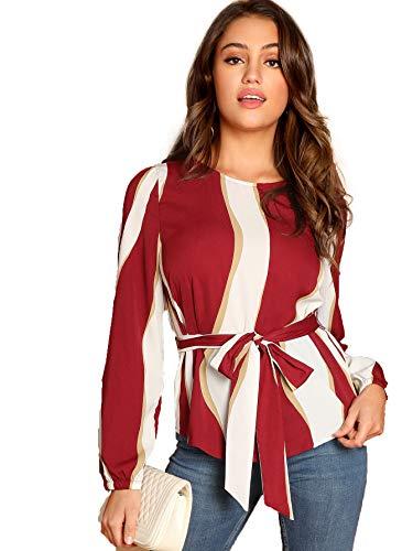 Romwe Women's Self Belted Striped Print Casual Blouse Top Shirt Burgundy Medium