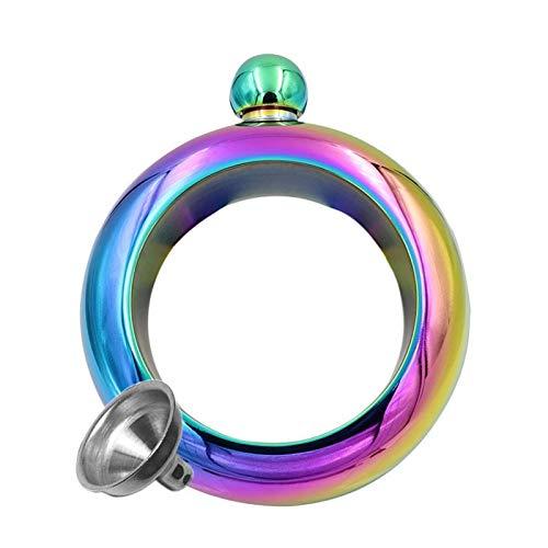 YMYGCC Flachmänner 3,5 OZ Armband Flasche mit Trichter beweglicher Edelstahl-Armband-Flasche Wodka Flasche Alkohol-Spiritus-Whiskey Krug Wein-Armband 39 (Color : Rainbow)