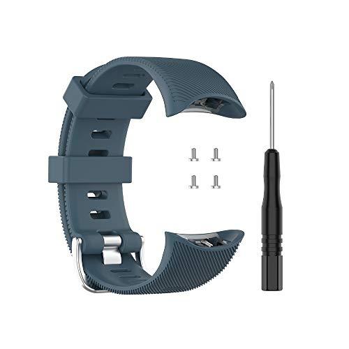 G-RF Bandas De Repuesto Silicona con Herramienta Extracción para Garmin Forerunner 45 / 45S / Swim 2 (Gris Azul)