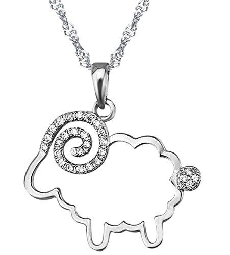 Unendlich U Infinite U 925 Sterling Silver Cubic Zirconia Little Sheep Pendant Necklace for Women/Girls