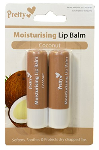 2 x Coconut Moisturising Lip Balm Tubes by Pretty - Softens, Soothes &...