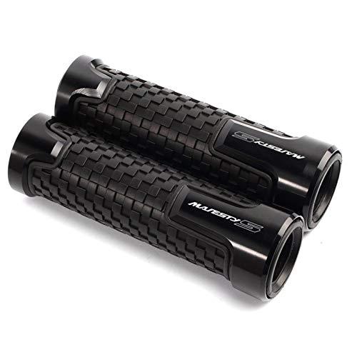 Empuñaduras Antideslizantes De Motocicleta De 7/8`` 22MM para Y-amaha YP 150/250/400 Grand/Majesty/XENEER XC155 TMAX530 T-MAX Aluminio + Cubierta De Goma (Color : Black)