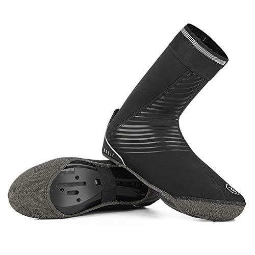 Cubiertas de zapatos de ciclismo, de corte alto más terciopelo impermeable Overshoes Road Bike MTB cubierta, SBR tela de buceo a prueba de polvo bloqueo zapatos mujeres hombres unisex negro