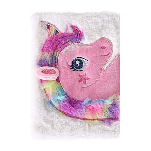Tiyila Peluche Esponjoso Colorido Unicornio Libreta Tapa Dura Animal Lindo Diseño Cuaderno - WT