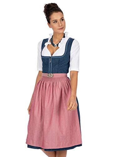 Stockerpoint Damen Dirndl Roseline Kleid für besondere Anlässe, blau-Altrosa, 44