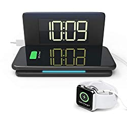 Compact Digital Alarm Clock with Wireless Charging & USB Port for Apple Watch/Tablet, 10W/7.5W Qi Wireless Charging Pad for iPhone Samsung AirPods, Dimmable Display & Night Light, Snooze Alarm Clock