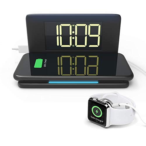 Compact Digital Alarm Clock with Wireless Charging & USB Port