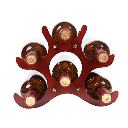 JTRHD Casier à vin de Bouteille Vin Bottle Rack Accueil Racques à vin Salon Décoration Vin Solid Bois Solid Wood Rack Décoration pour Armoire/Placard/comptoir (Couleur : Rouge, Size : Medium)