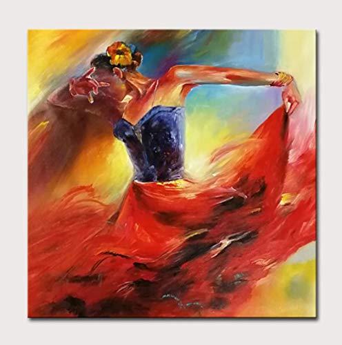 Pintura Al Óleo Pintada A Mano Sobre Lienzo,Pintura De La Obra De Arte De La Pared, Pintura Pura Del Lienzo Pintado A Mano, Mujer De Baile Artístico Abstracto, Pintura De La Obra Para Todas Las Oca
