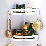 CROSOFMI Mensola ad Angolo per Doccia Bagno Antiruggine portasapone per Doccia per Organizzatore Cucina Bagno Alluminio (Triangolo, Argento,Confezione da 2)