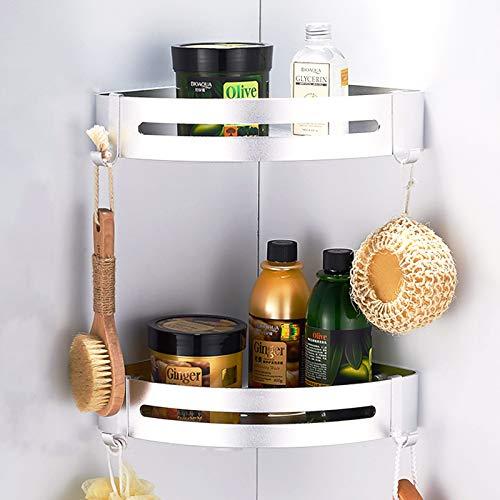 CROSOFMI Duschregal, Duschablage Ohne Bohren für Bad Küche Organizer, Eckablage Duschkorb Aluminium (Dreieck, Silber,2 Packungen)