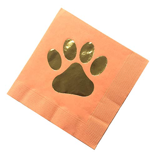 Gold Foil Dog Paw Print on Coral Orange Cocktail Napkin, Dog Themed Party Décor Made in America