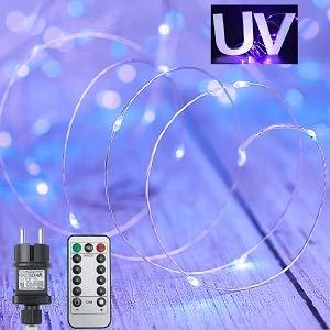 UV Schwarzlicht 15M 150 LEDs LED Licheterkette Wasserdicht Außen mit Fernbedienung & Timer, Partybeleuchtung mit EU Stecker, 8 Modi für Haus Karneval Valentinstag Galerie Bar Poster Party Deko