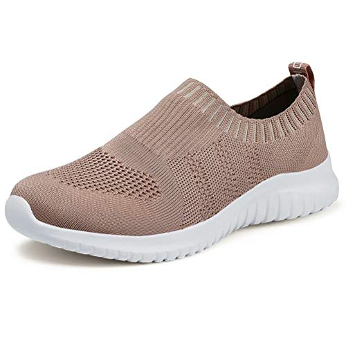 konhill Women's Walking Tennis Shoes - Lightweight Athletic Casual Gym Slip on Sneakers 5 US Apricot,35