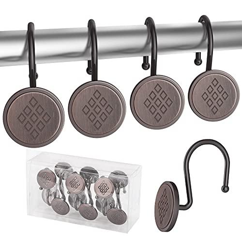 Lewondr 12x Duschringe Duschvorhangringe Edelstahl Aufhängeringe mit Gleitsystem,12 Einzelhaken (Bronze)
