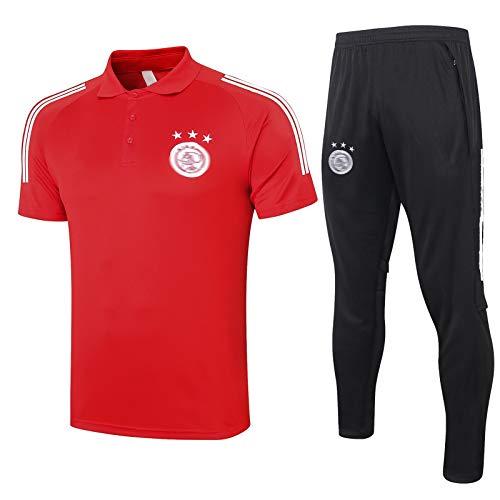 Conjuntos de Camisetas de fútbol AJǎX Hombres - Jerseys de fútbol para Adultos Conjuntos de Manga Corta Polo Sportswear Uniformes Red-XL