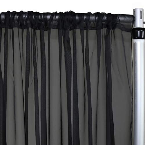 Your Chair Covers - Voile Sheer Drape, Bridal Curtain Backdrop for Wedding, Birthday, Baby Shower Decoration (14 ft x 116 inches, Black)