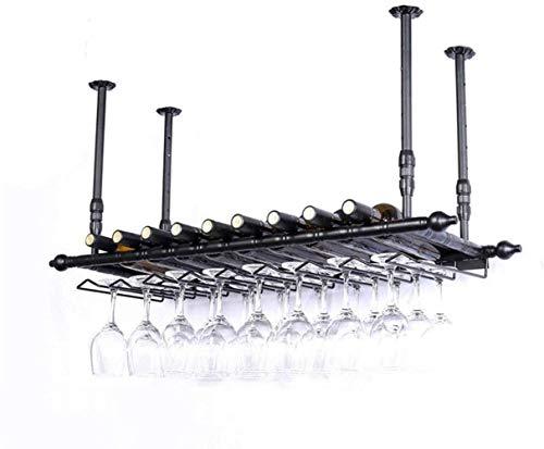 YLongFEI - Botellero de hierro forjado horizontal para colgar botellas de vino, para restaurantes, bares, altura regulable, color negro, 100x30cm