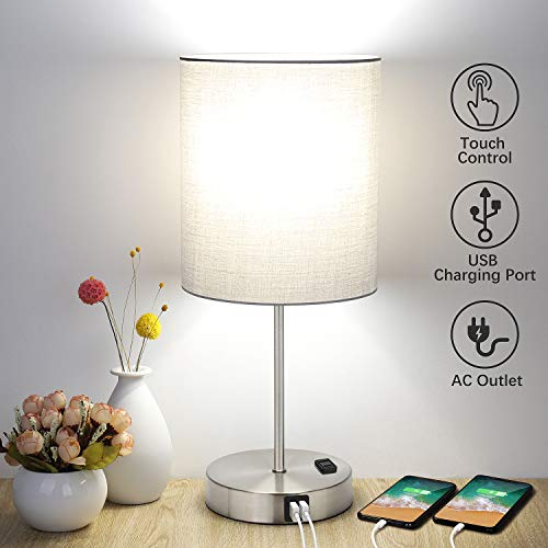 Touch Control Table Lamp, 3 Way Dimmable Bedside Desk Lamp with 2 -