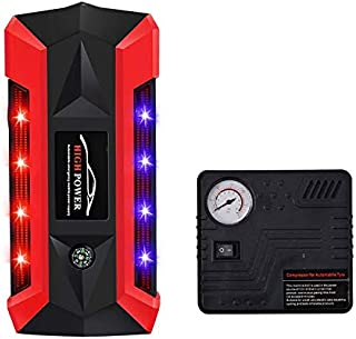 Car Jump Starter with Air Compressor Pump, 600A Peak 20000mAh 12V Emergency starting booster, Portable Power Pack, 4 USB charging Ports, Compass, LCD Screen, LED Flashlight (Red&Black)
