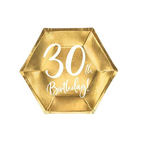 Party Deco Lot de 6 Assiettes en Papier pour fête d'anniversaire 30 Ans Doré 20 cm x 6
