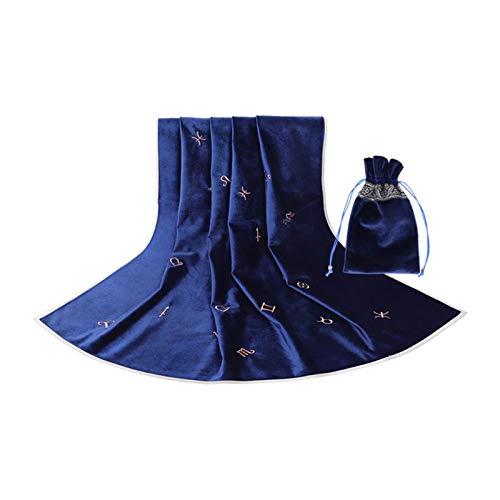 MagiDeal Mantel de divinación del Tarot del sofá con el bolso de la cubierta del terciopelo de la bolsa de adorno, resistente al desgaste y no desteñido - Azul