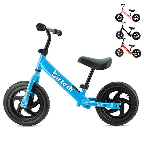 Birtech Laufrad Kinder ab 1 2 3 4 Jahre Balance Fahrrad 12 Zoll Kinderrad Lauffahrrad Sport Fahrrad mit Stahlrahmen, Verstellbarer Lenker & Sitz fr Kinder,Blau