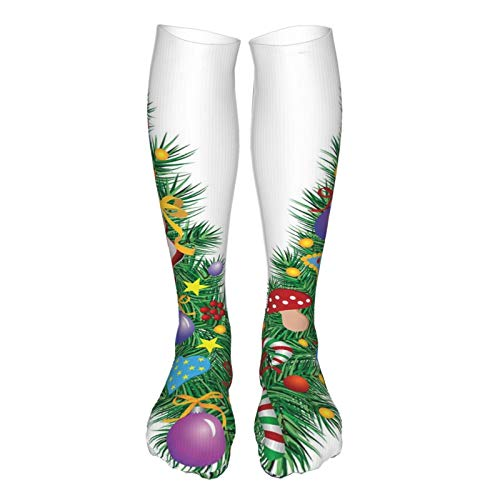 2021 Fashion Thigh High Socks Cotton Over the Knee Socks,Ornament Christmas Tree Design Capitalized V Festive Elements Bells Candies Print,Long Knee High Socks for man and woman 60cm