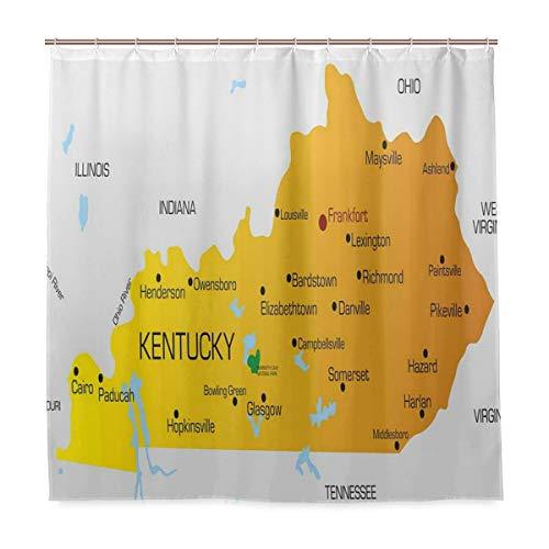 BEITUOLA Cortina Baño,Estado de Kentucky con Nombres de Ciudades América Mapa político Educativo,Baño Lavable a Prueba de Agua,180x180cm Cortina de Ducha con 12 Ganchos