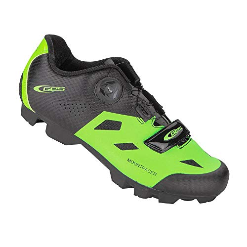 GES Mountainbike-schoenen voor mountainbike, groen-zwart, T43, bevestiging met Boa-klittenbandsluiting, compatibel met SPD (paar)